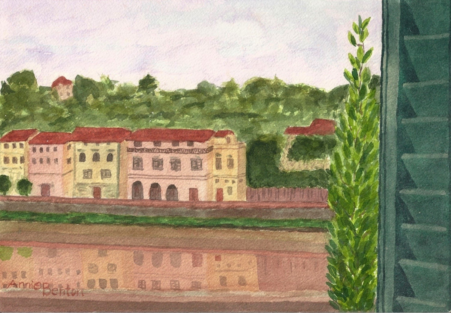 Roxanne Darling, View from Hotel River, Florence, watercolor, 10x7