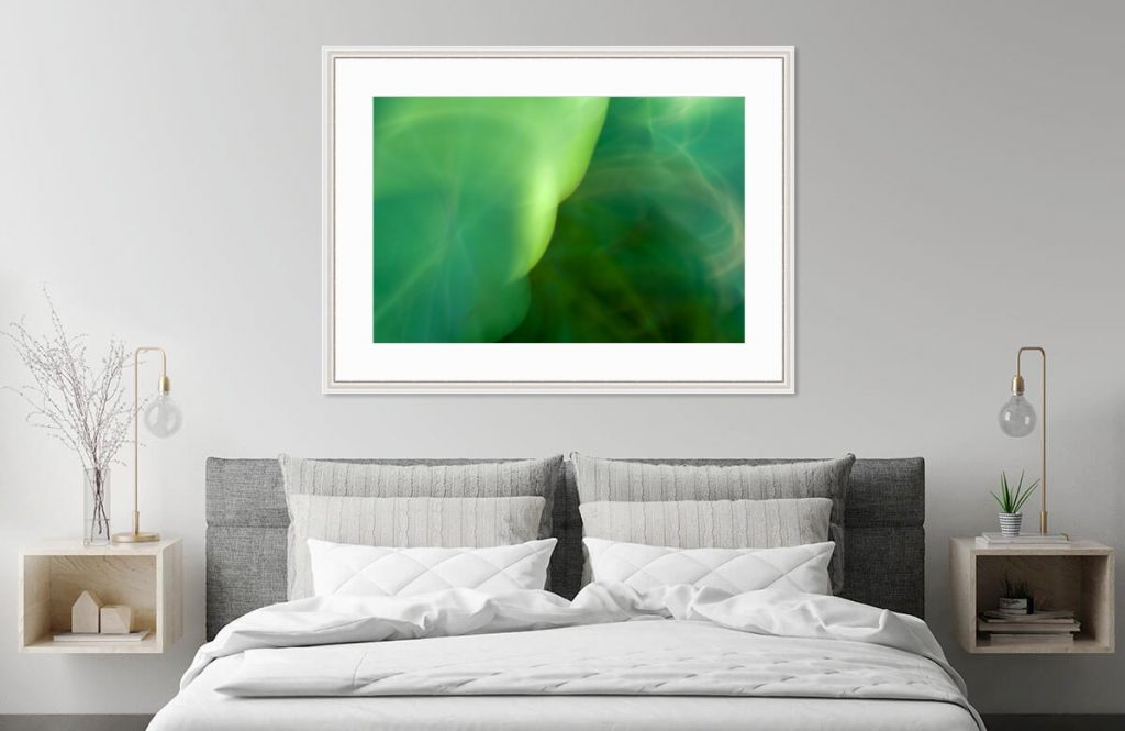 Green Light Bubbles, framed, by Roxanne Darling